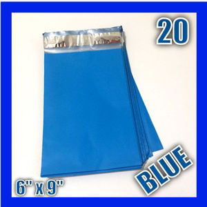 """Office - (20) 6"""" x 9"""" BLUE Poly Mailers Self Sealing Design"""